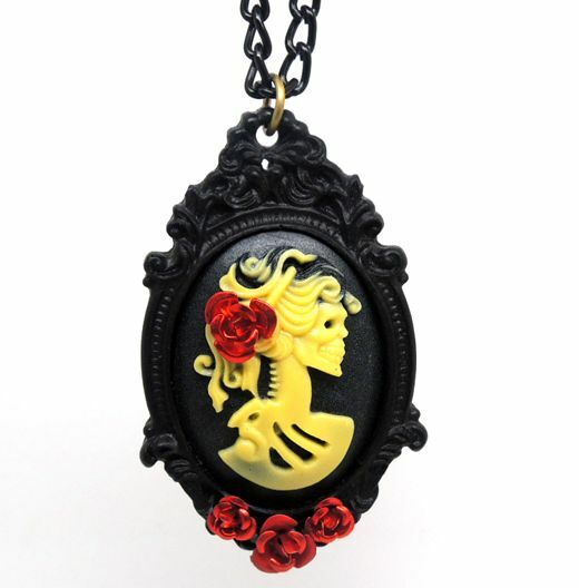 Victorican Black Yellow Skeleton Necklace Jewellery Gothic Punk ONLY 1 LEFT