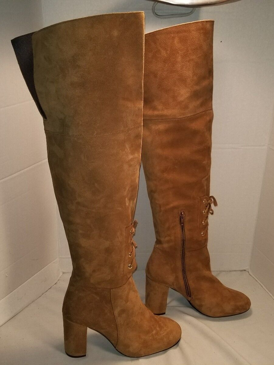 NEW ELYSESS OVER THE KNEE SUEDE LACE UP UP UP BOOTS WOMENS US 10 EUR 40 60de86