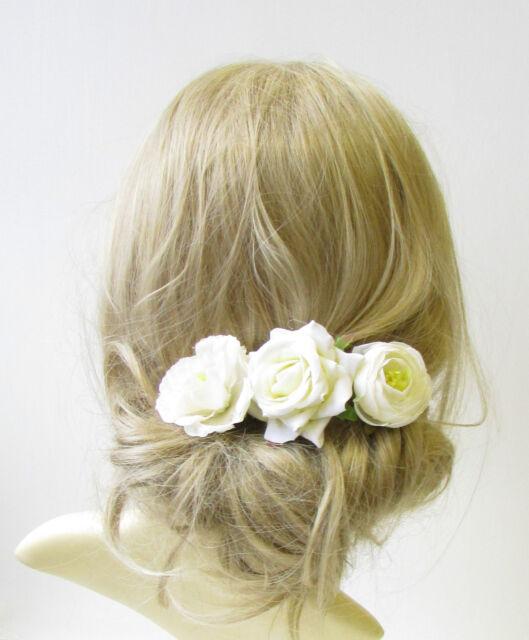 5e34dd54fa 3x Ivory White Rose Ranunculus Flower Hair Pins Bridal Bridesmaid Clip Vtg  1261