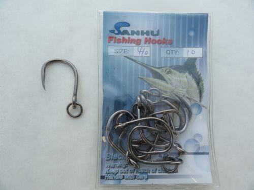4x Strong Ringed Live Bait Hooks Size #1//0 80 Pieces Fishing Hooks