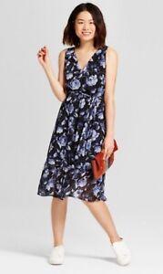 749e8ede4b67 NEW Women's Floral Chiffon Midi Dress - A New Day Blue Medium | eBay