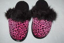 Girls Slippers PINK BLACK LEOPARD Faux Fur Trim SIZE S 11-12 M 13-1 L 2-3 XL 4-5