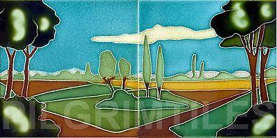 "Art Deco Style ""Scene"" 2 Tile Panel / Bathroom / Kitchen / Splashback / Plaque"