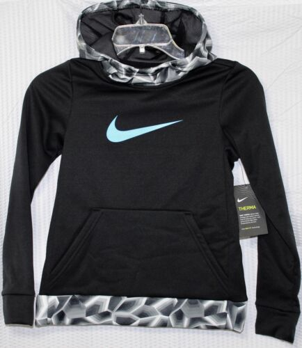BLACK//BLUE SIZE SMALL 860094-010 NIKE THERMA-FIT GIRLS TRAINING HOODIE