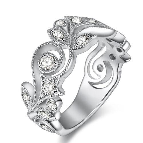 2.6ct Round White Cz 10K White Gold Plated Wedding Band Engagement Ring Sz 5-10