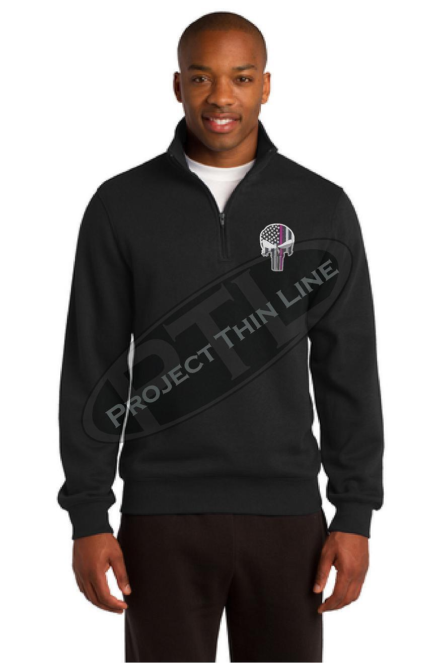 Men's Thin Pink Line Skull 1 4 Zip Fleece Sweatshirt Breast Cancer Awareness