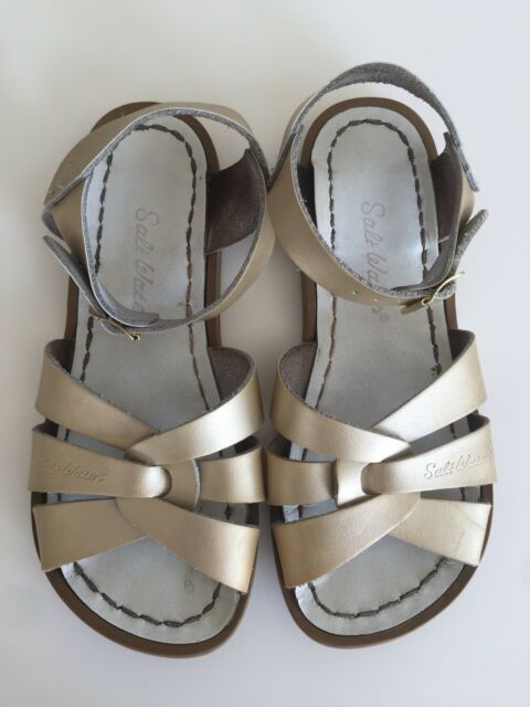 2820a4d8fdd7 SALT WATER By Hoy Kid Girl Hoyway Gold Leather Casual Sandals Shoes Sz 1  Kids