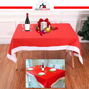 Santa-Christmas-Table-Nappe-Nappe-Decoration-De-Noel-Diner-Fete-Rouge-amp-Blanc
