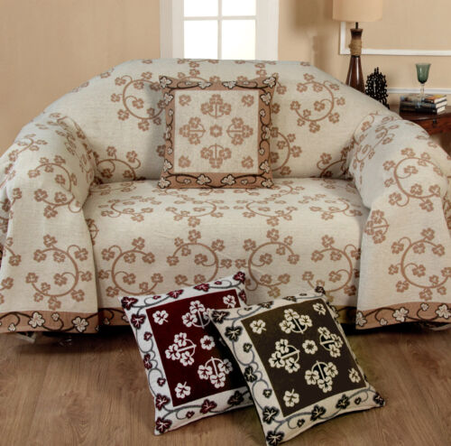 Chenille Floral 100/% Cotton Sofa Cover Bed Throw 1 2 3 Seater Cream Choco Wine