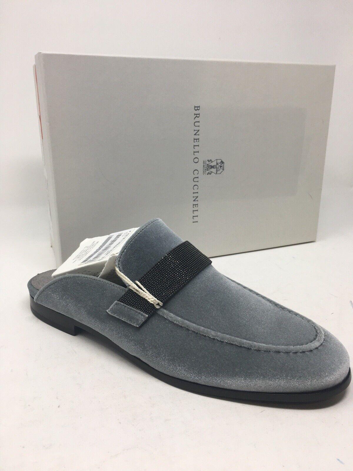 1.345, zapatos fehombresinos Bcorrerello cucinelli, gris, zapatillas azules, talla 38,8 de EE.UU.
