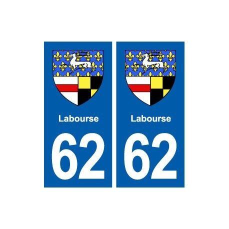 62 Labourse blason autocollant plaque stickers ville -  Angles : droits