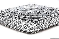 Indian Square Floor Pillow Cover Elephant Mandala Pouf Cushion Case Dog Pet Bed