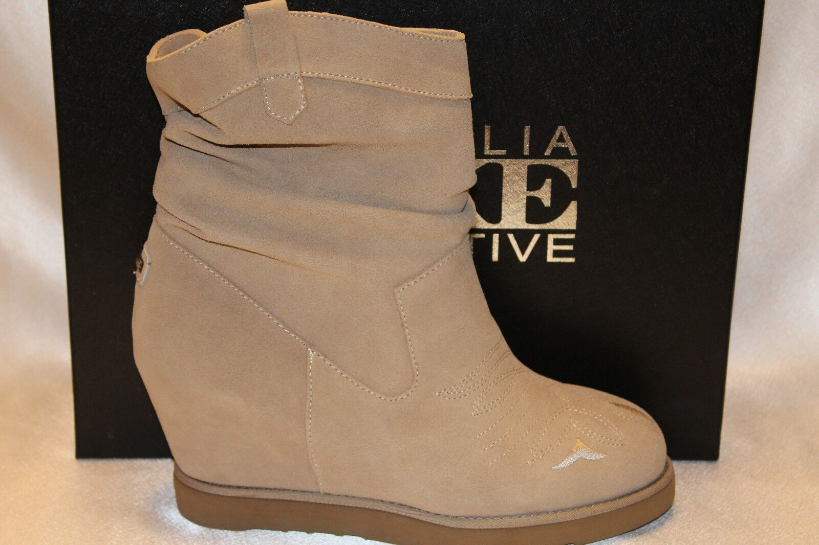 NEW AUSTRALIA LUXE Sand Suede Shearling COWBOY WEDGE Western Boots 8 9 10 275
