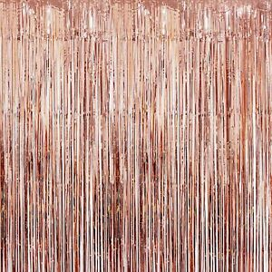 Foil Metallic Fringe Tinsel Curtain Rose Gold Backdrop Door Party Decorations
