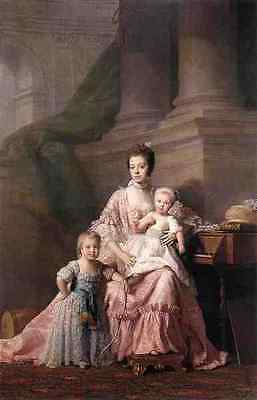 Ramsay Allan Queen Charlotte With Her Two Children A3 Box Canvas