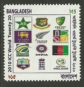 BANGLADESH 2010 T20 CRICKET WORLD CUP FLAGS 1v MNH