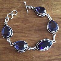 Sterling Silver Amethyst Quartz Bracelet Handmade Design Birthstone Jewelry Gift