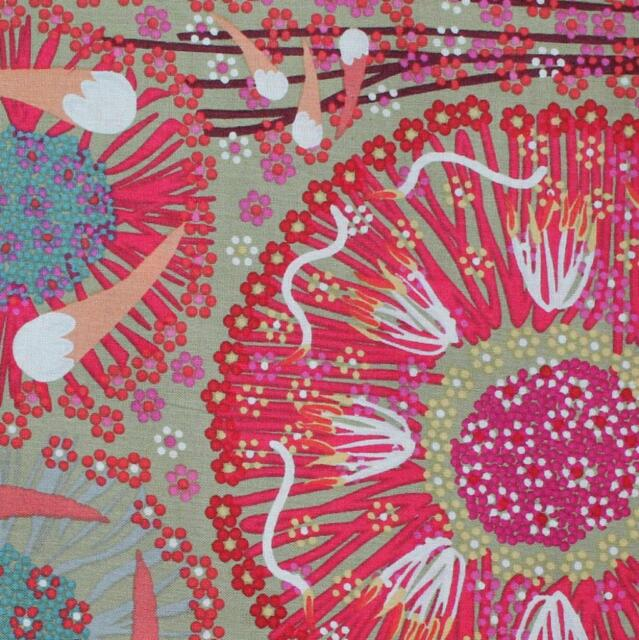 AUSTRALIAN ABORIGINAL ART  FABRIC - PLUM & BUSH BANANA GREEN  Buy metres by FQ