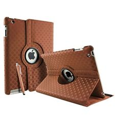 BROWN Diamond Fashion Leather 360° Rotating Stand Case Cover For iPad 2/3/4 UK