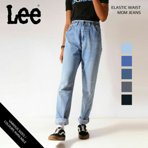 VINTAGE LEE ELASTICATED HIGH WAISTED WOMENS RELAXED TAPERED MOM JEANS 25-38