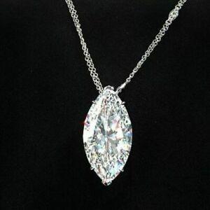 Diamond-Solitaire-Pendant-Solid-14k-White-Gold-2-Ct-Marquise-Brilliant-Cut