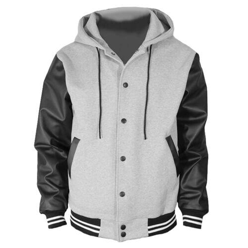 Gray Varsity  Wool Letterman Hoodie Real Black Leather Sleeves XS-4XL