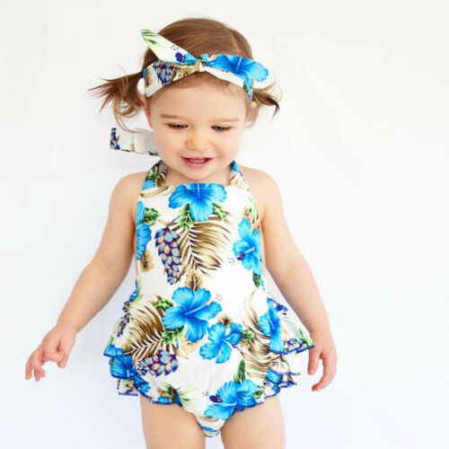 Baby Girls Floral Sleeveless Romper Jumpsuit+Headband Outfits Summer Clothes Set