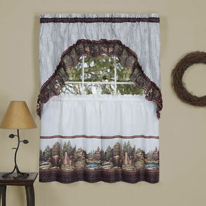 Woodland Kitchen Curtain Tier Swag Set Picturesque Cabin In Woods Bears Ebay