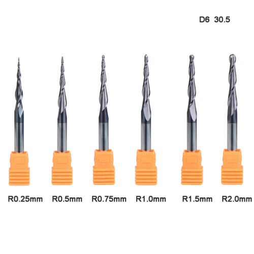 6Pcs Tapered Ball Nose End Mill Carbide 6mm Shank Flute Length 30.5mm CNC BIts