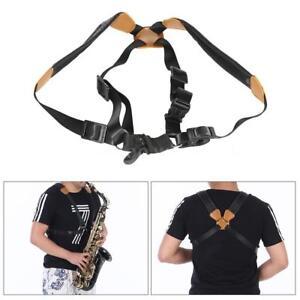 Adjustable-Leather-Tenor-Alto-Soprano-Saxophone-Sax-Chest-Double-Shoulder-Y8H3