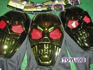 Halloween-PLATED-MASK-With-HOOD-Totally-Ghoul-Metallic-Green-Red-Eyes-Skeleton