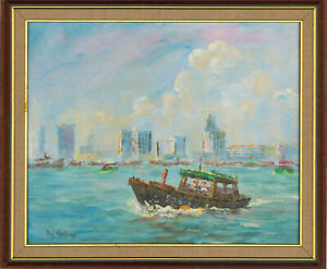 Ray-Melhop-Framed-1982-Oil-View-of-Singapore