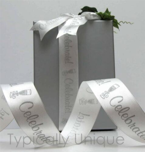 3 METRES  WHITE RIBBON CELEBRATION WIRE EDGED QUALITY GIFT WRAPPING DECORATION