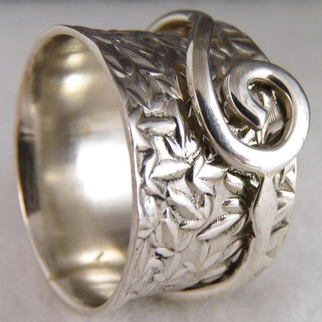 US 8 3/4 ~ 925 Sterling Silver  ~ Embossed SilverSari 'Leaf/Scroll' SPINNER RING