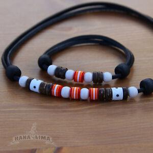 0830ca1f64 Das Bild wird geladen Schmuck-Set-Lederkette-Surferkette-Halskette -Surferarmband-Armband-Damen-