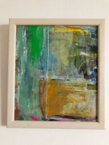 """Original Abstract Acrylic Painting Contemporary 7 x 8"""" Framed Fine Art Signed"""