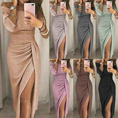 Fashion Women Off Shoulder Long Sleeve Bodycon Dress Evening Party Cocktail
