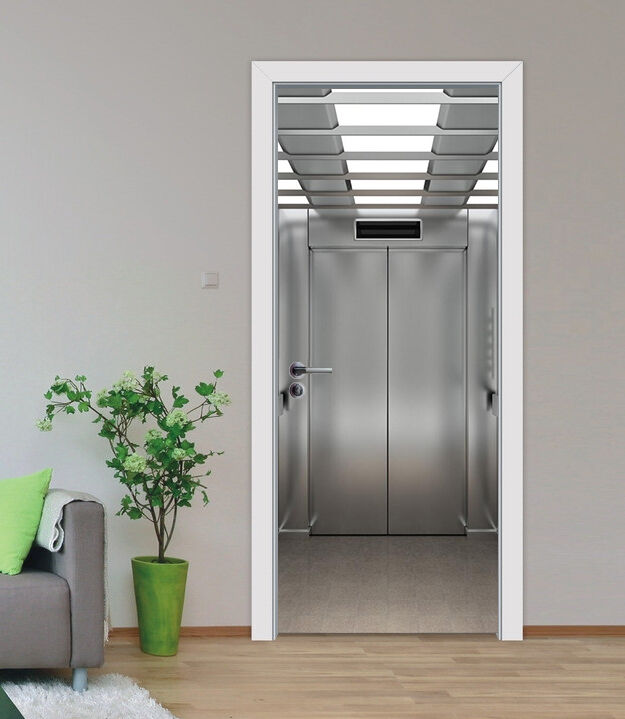 3D Aufzug 503 Tür Mauer Wandgemälde Foto Wandaufkleber AJ WALL DE Lemon