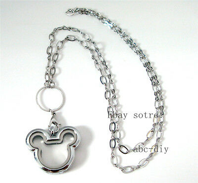 1pcs  mouse Living Floating Memory  Locket with Necklace Pendant Chains