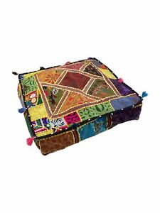 Indian-Handmade-Floor-Square-Home-Decor-Vintage-Patchwork-Cushion-Pooffee-Large