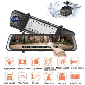 "Car DVR Stream Media 10""Full Touch Screen Dash Cam Dual Lens Mirror Night Vision"