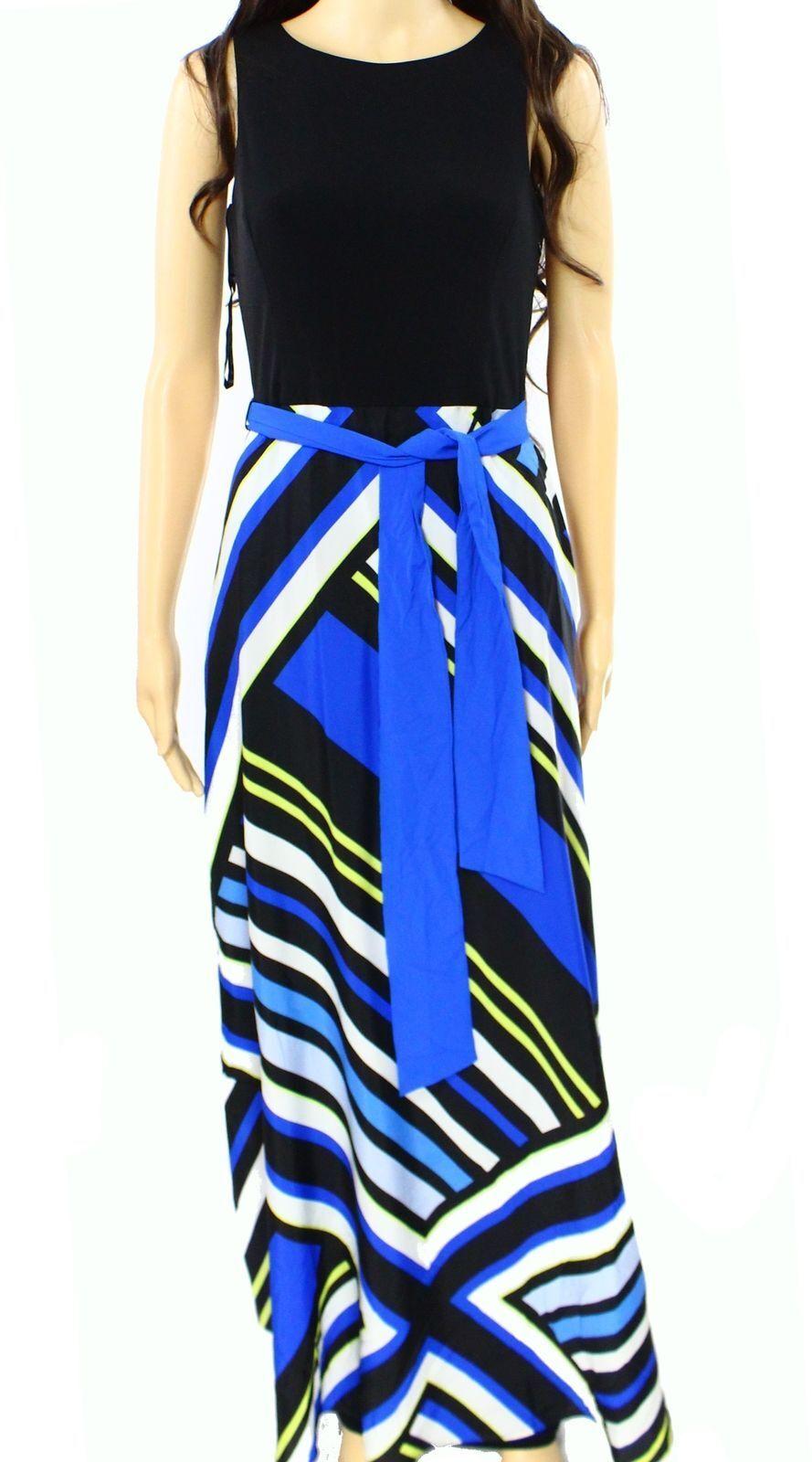 INC International Concepts Women's New Printed Maxi Dress bluee Strip Size 4