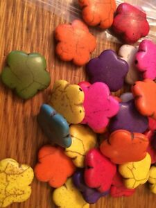 Lot-of-20mm-Howlite-Multi-Colored-Gemstone-Star-Flower-Spacer-Loose-Beads-1lb