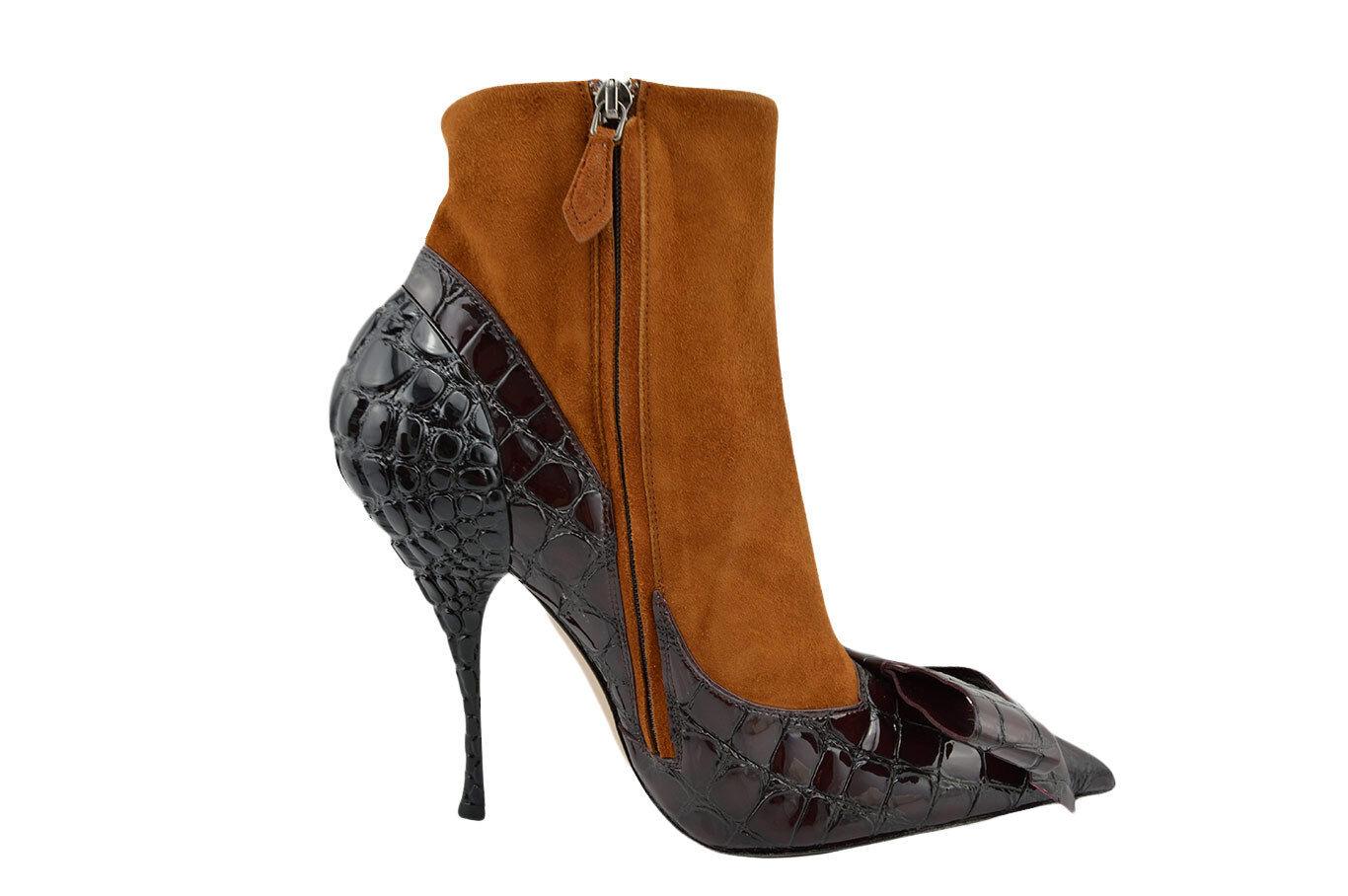 $825 MIU MIU Brown Black Leather VERNICE 39 CROC Boots Heels 39 VERNICE / 9 LIMITED EDITION 194154