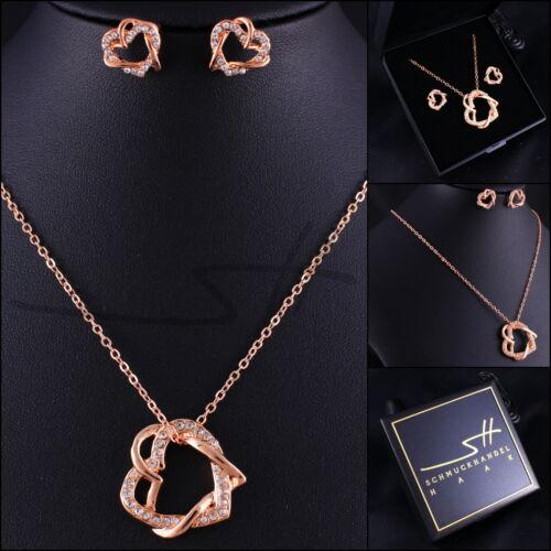 Regalo: cadena pendientes * corazón para corazón * Rosegold PL + estuche swarovski elements
