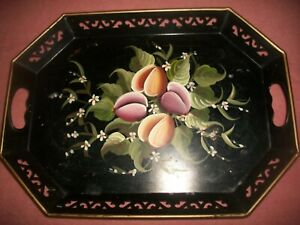 """VTG Hand Painted Black Floral Toleware Tray 13"""" x 18"""" with Handles~PILGRIM ART"""