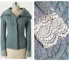 Anthropologie Sleeping on Snow Femme Fisherman Sweater New M crochet blue green