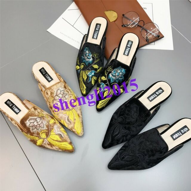 Womens Slippers Flats Mules Pointy-toe Embroidery Floral Casual Shoes Loafers US