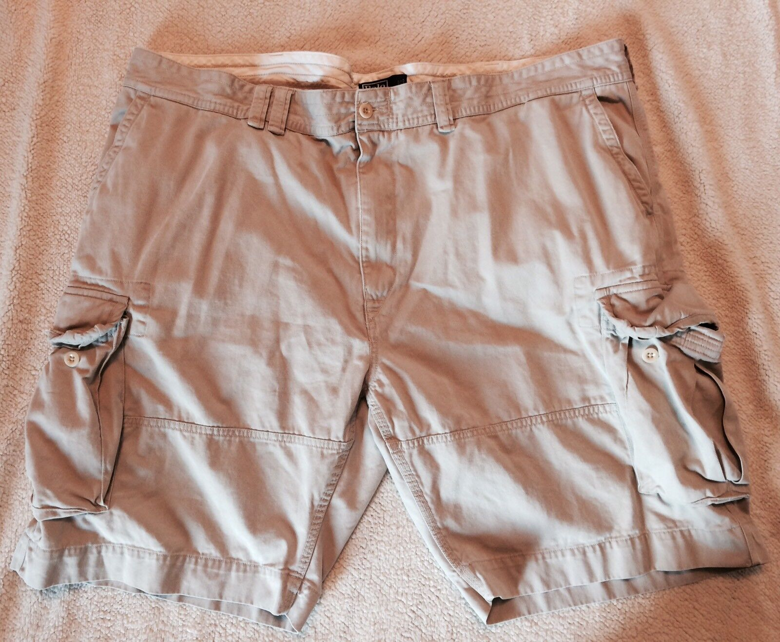 Polo Ralph Lauren Shorts Size 50B Flat Front Cargo Cotton Khaki Tan Nice