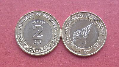 MALDIVES SET 2 5 RUFIYAA 2016 2017 COIN SHELL BIMETALLIC /& BANKNOTE P NEW UNC